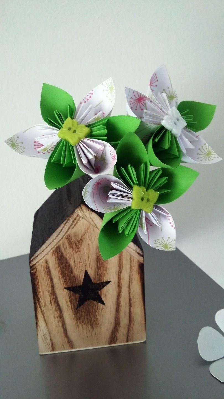 soliflore maison en bois avec bouquet origami : Accessoires de maison par stefebricole