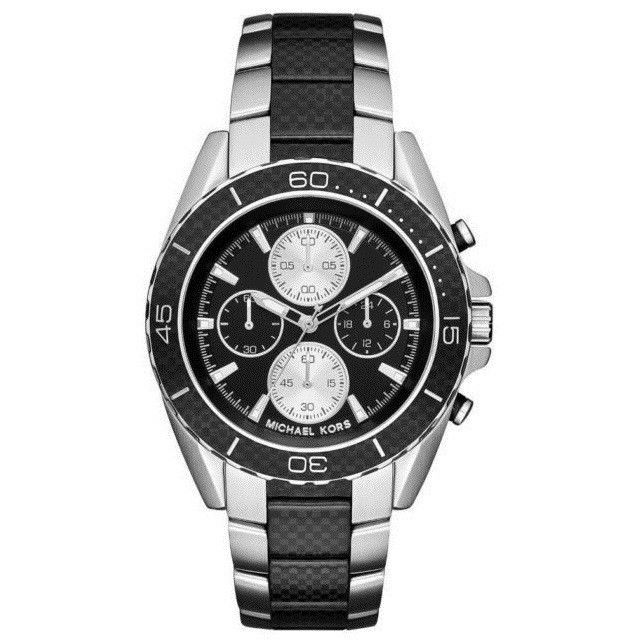 bd1963fc588e Michael Kors MK8455 JetMaster Full Carbon Fiber Black Band Quartz Light 45MM