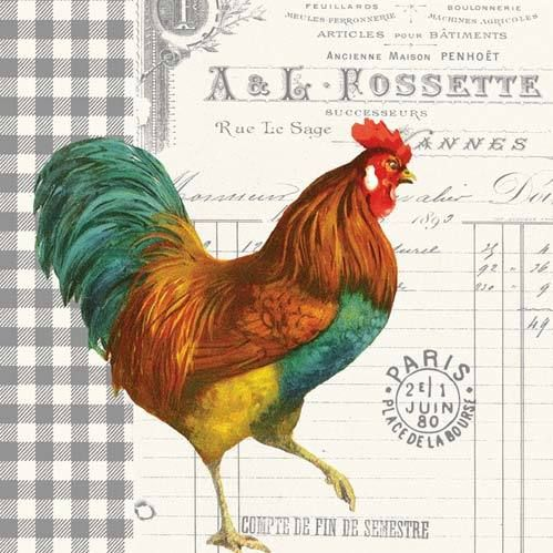 French Rooster Decoupage Napkins Decorative Paper