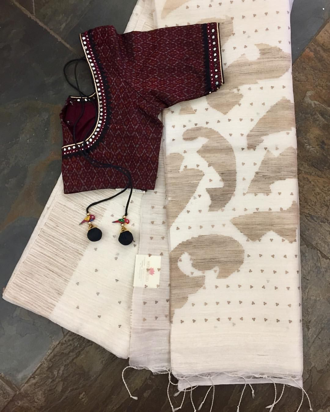 Silk saree blouse designs without embroidery matka silk saree with muslin pallu and jamdhani weave paired with an