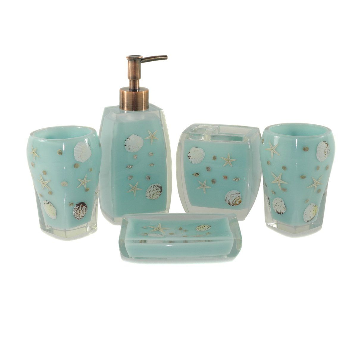 Dream bath blue starfish bath ensemble 5 for Teal bathroom accessories sets