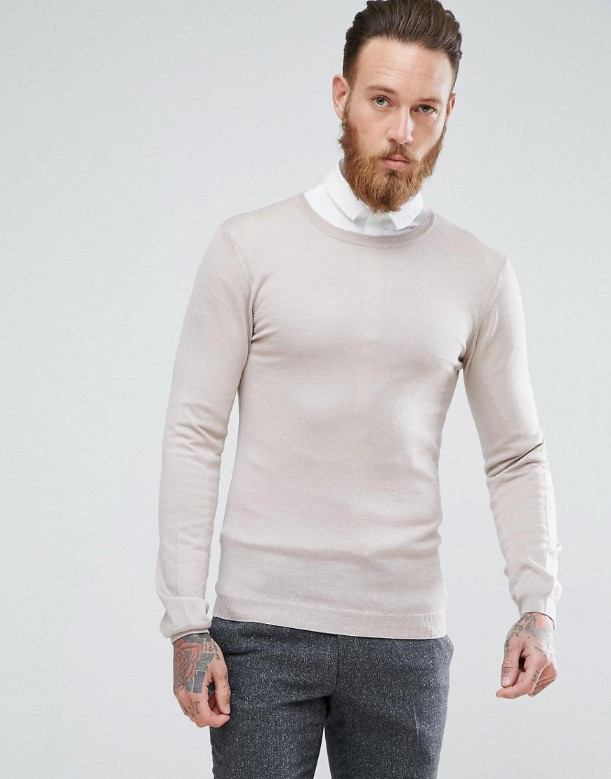 3394b9caefb7 Muscle Fit Merino Wool Sweater In Oatmeal | beige sweater outfit ...