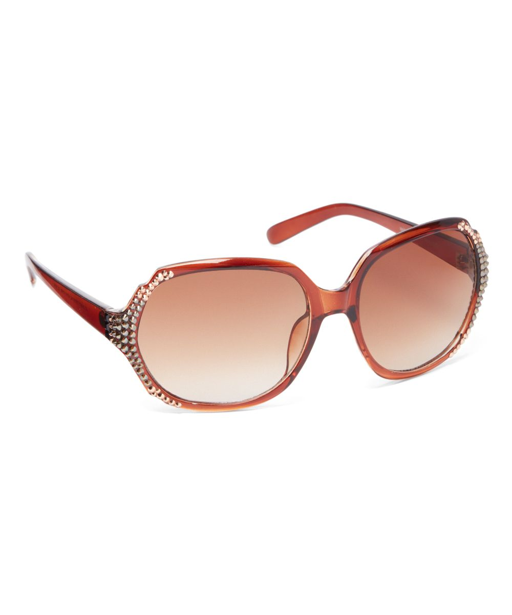 Brown Oversize Sunglasses With Swarovski® Crystal