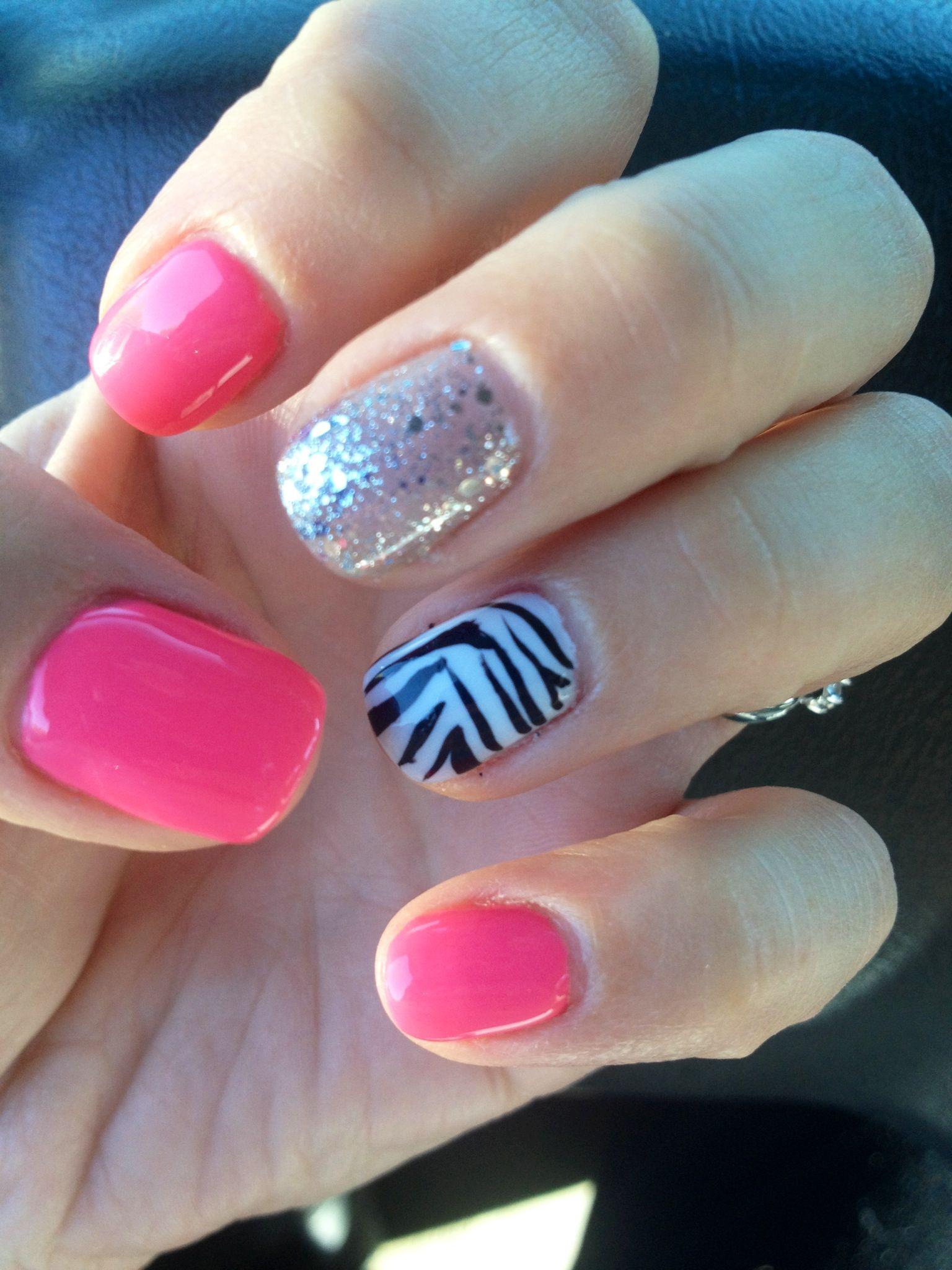 Pink zebra nails nails pinterest - Glitter Pink Shellac Gelling Cute Nails Zebra Sparkle Design