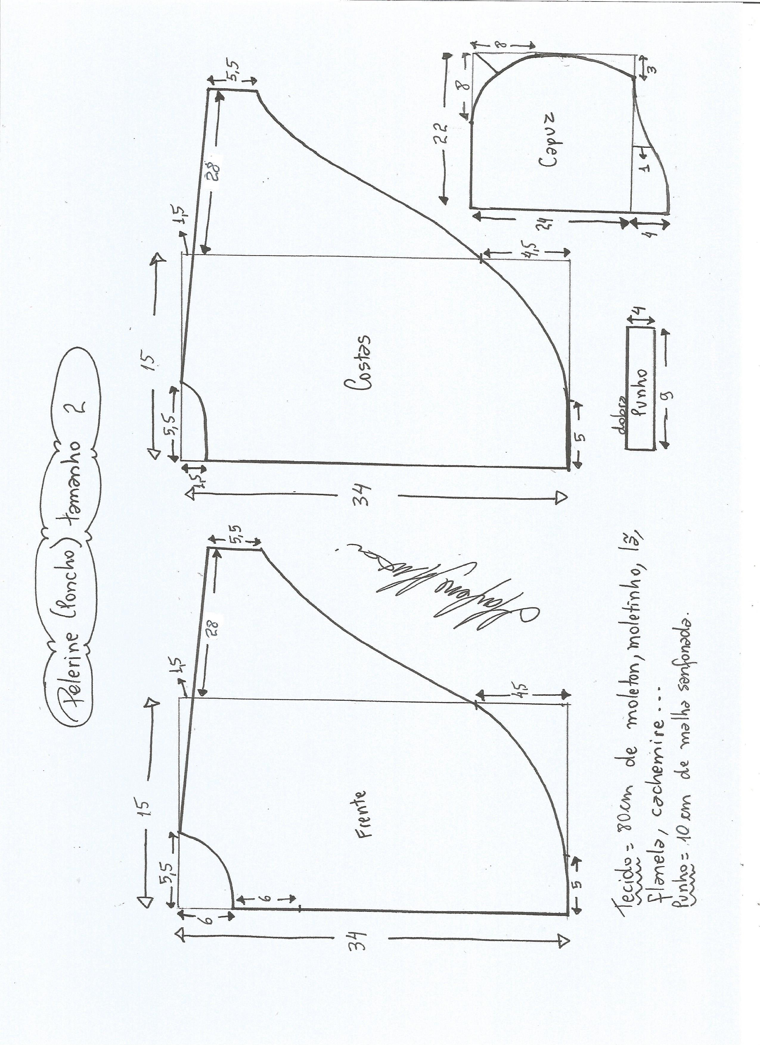 Patrón de poncho para niños   costura   Pinterest   Ponchos, Chart ...