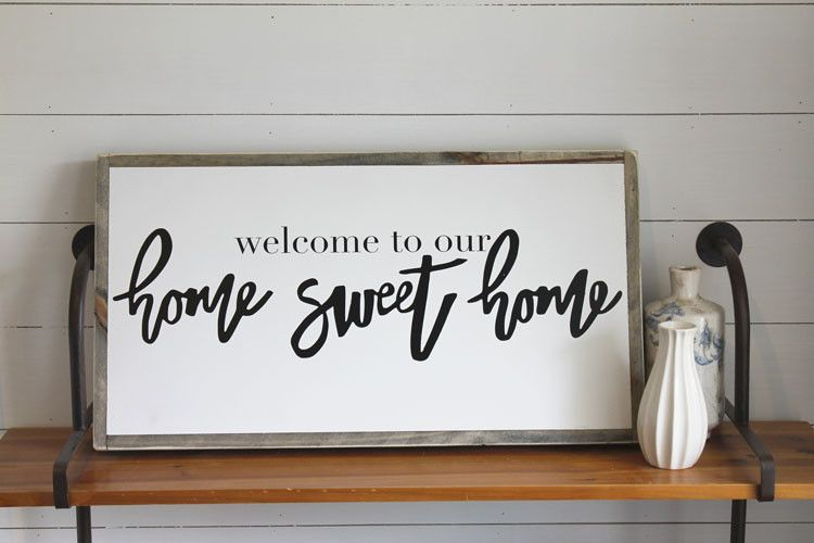 Welcome To Our Home Sweet Home Wood Signs For Home Rustic Wood Signs Sweet Home
