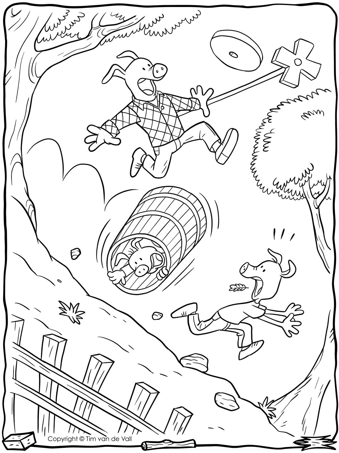 Three-Little-Pigs-Butter-Churn-Coloring-Page.jpg (1125×1500 ...