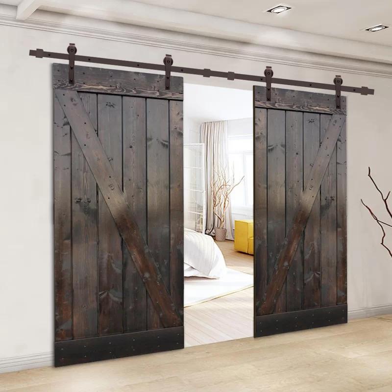 Paneled Wood Z Bar Barn Door With Installation Hardware Kit In 2020 Barn Style Doors Interior Barn Doors Barn Door Designs