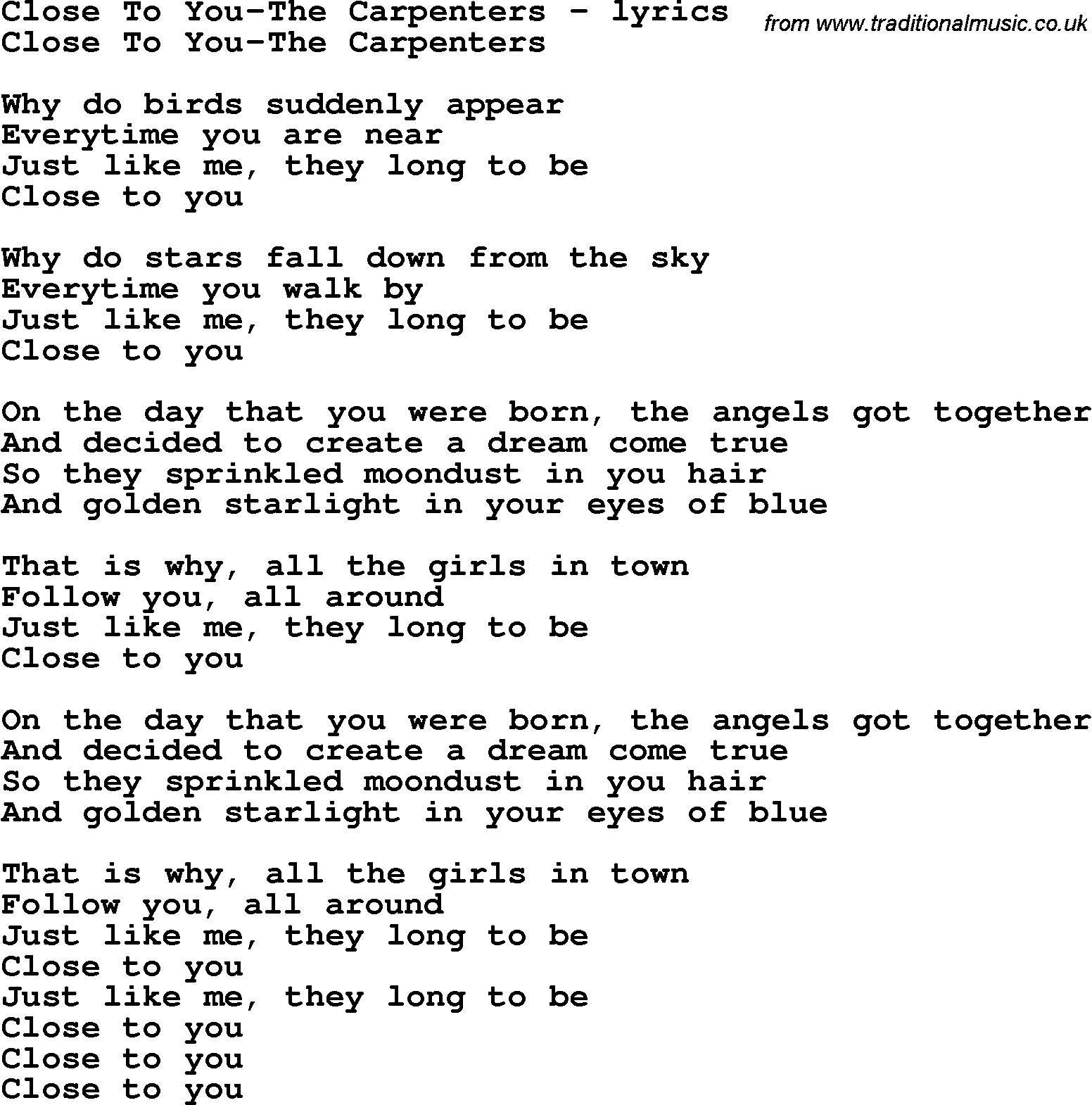 Httptraditionalmusiclove lyrics chordspng httptraditionalmusiclove lyrics chordspngclosetoyou thecarpenterslyg 70s childhood pinterest carpenter and songs hexwebz Choice Image