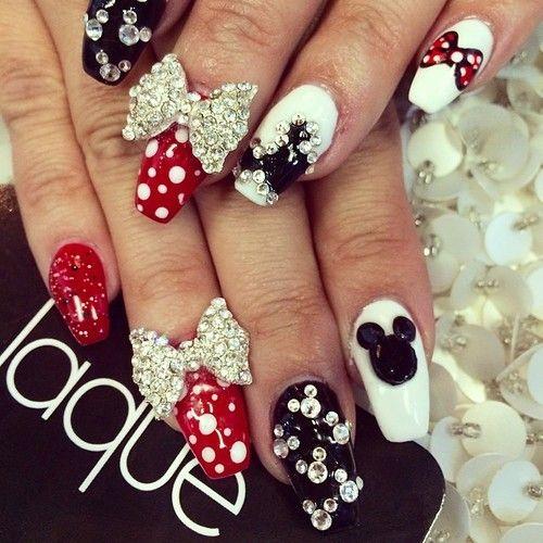 Mickey Mouse Nails Unas Mickey Disenos De Unas Con Puntos Unas Minnie