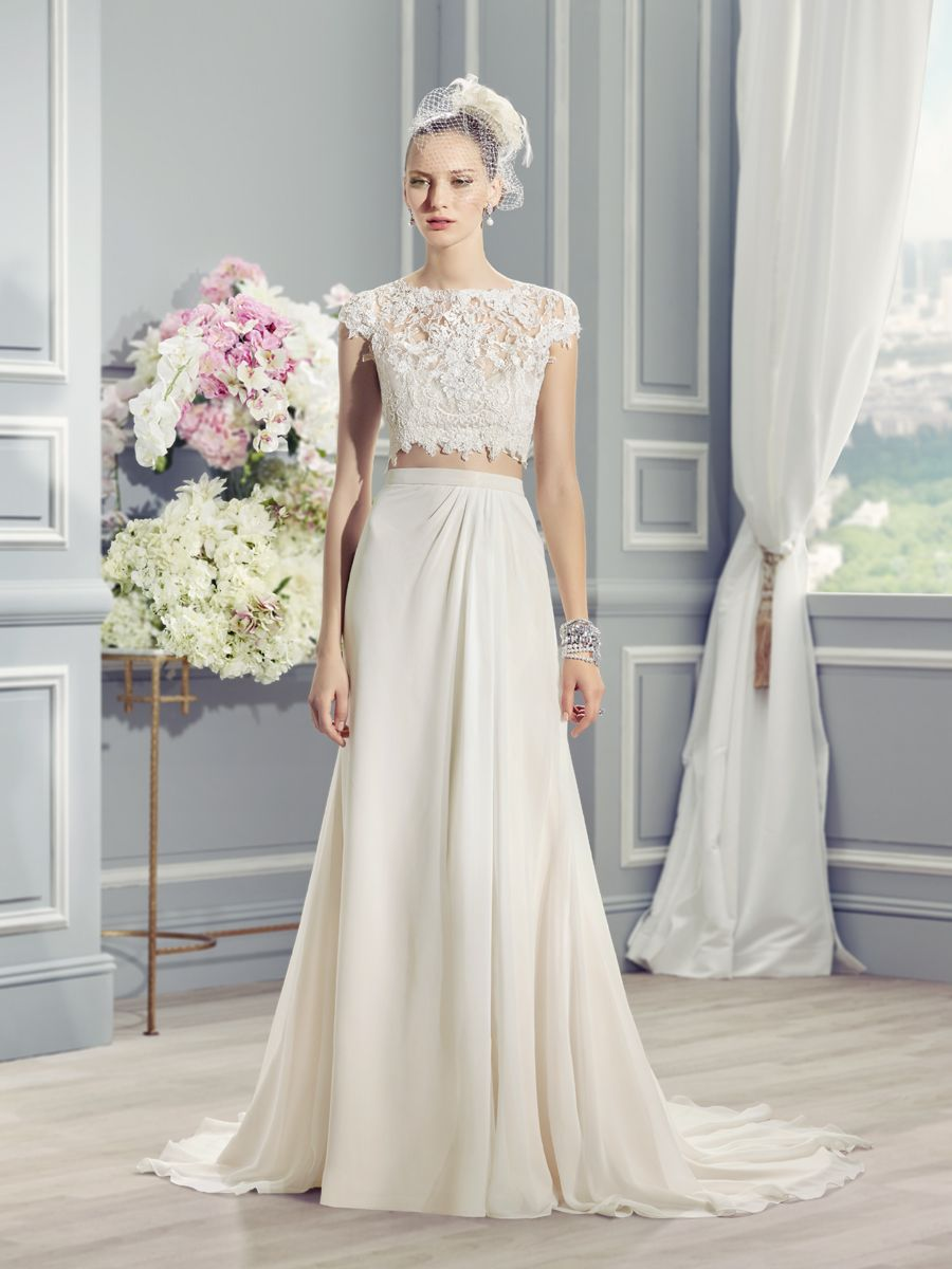 Bohochic, two piece wedding dress. Moonlight Style J6361