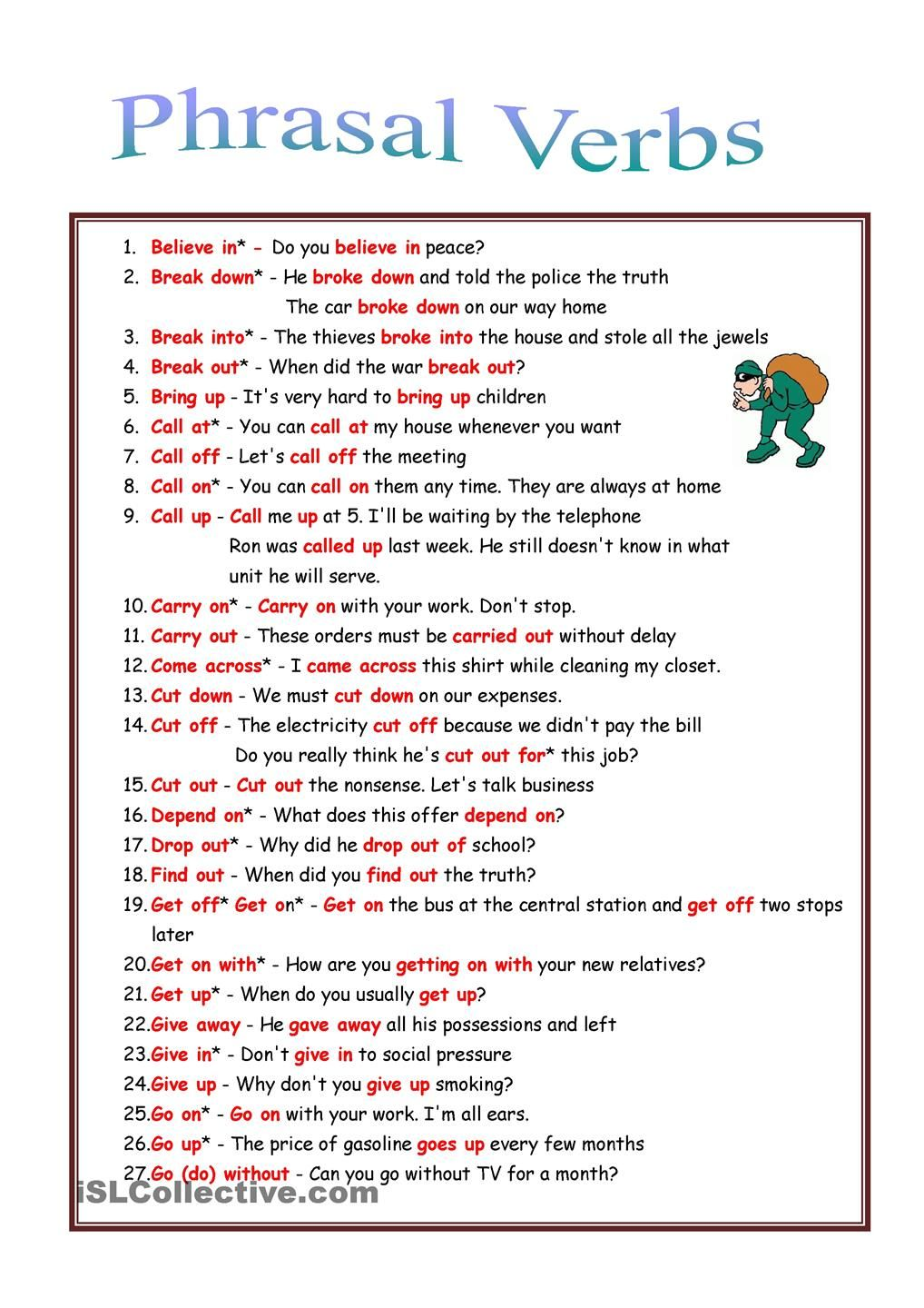 53 Phrasal Verbs Rules Exercises Vocabulario Ingles Ingleses