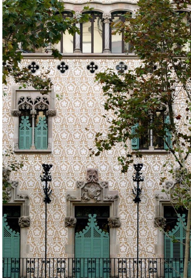 tile building exterior in spain with moorish influence turquoise