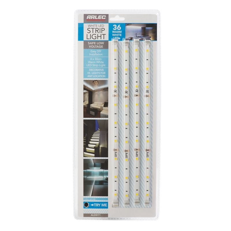 Arlec Warm White Led Strip Light 4 Pack Bathrooms
