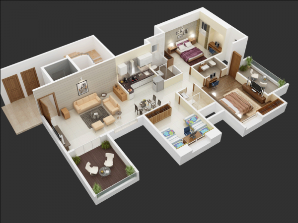 25 More 3 Bedroom 3d Floor Plans 3d House Plans House Plans Small House Plans