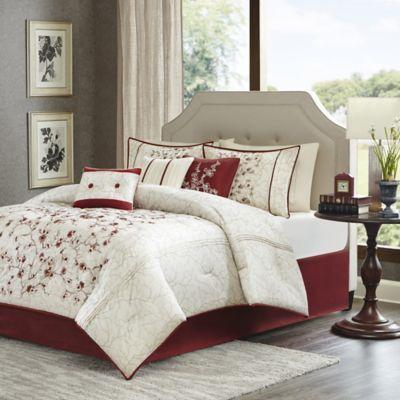 Madison Park Blossom 7-Piece Comforter Set in Red/White - BedBathandBeyond.com