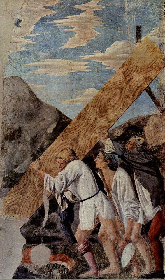 Piero della Francesca - 3. Burial of the Holy Wood (detail) 1452-1466.  Basilica di San Francesco - Arezzo.