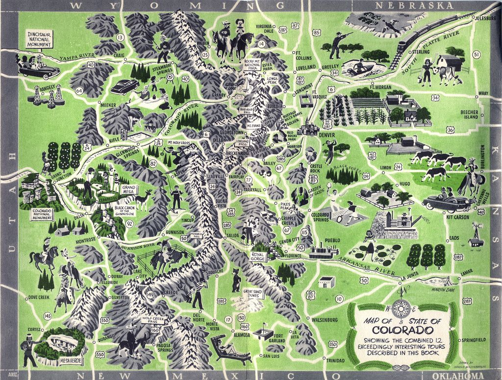 Old Tour Map of Colorado   Fascinating Maps and Infographics ...