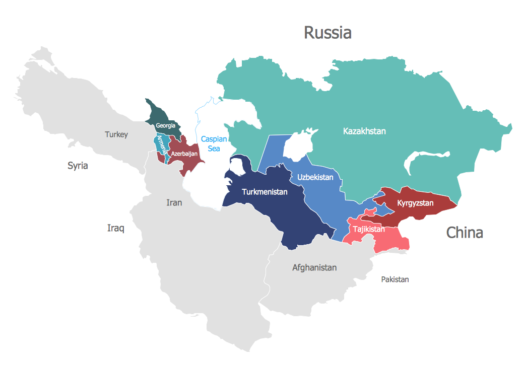 The Caucasus And Central Asia Map Political Map of the Caucasus and Central Asia | Maps — Continent