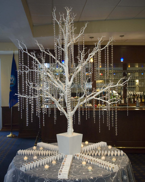 the stunning white crystal tree made a fabulous showpiece for the