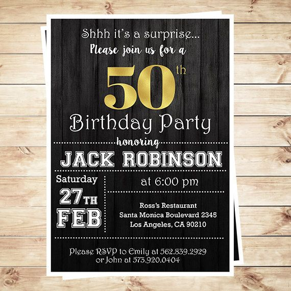 Mens Surprise 50th Birthday Party Invitations Invitation For Men