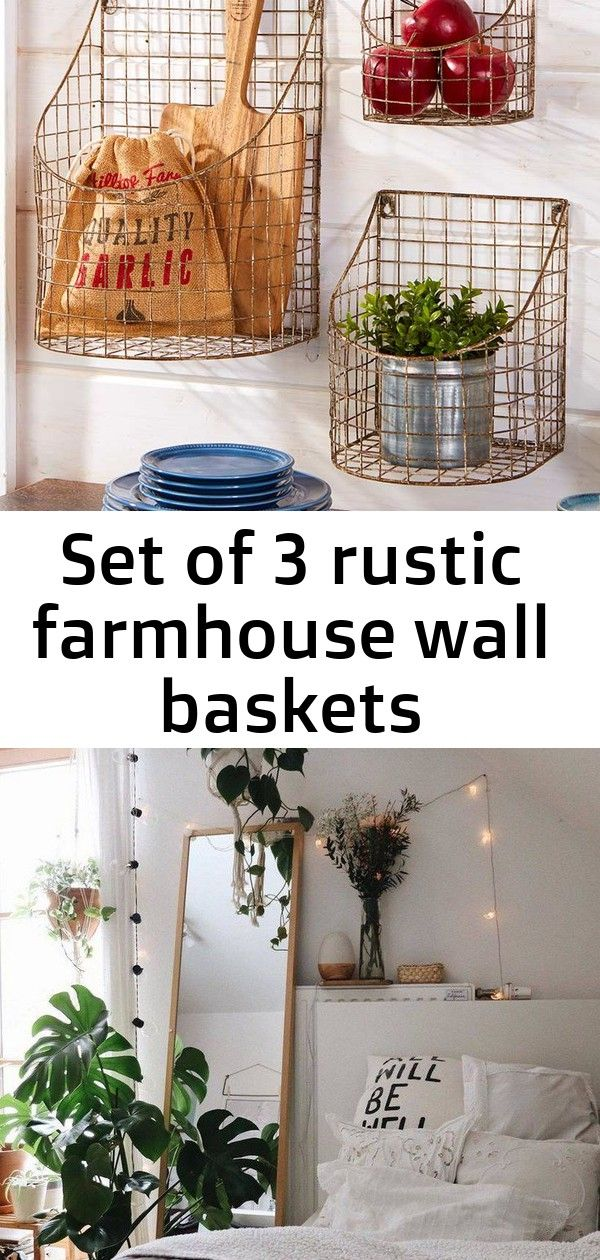 Set of 3 rustic farmhouse wall baskets #dreamroomsforwomen