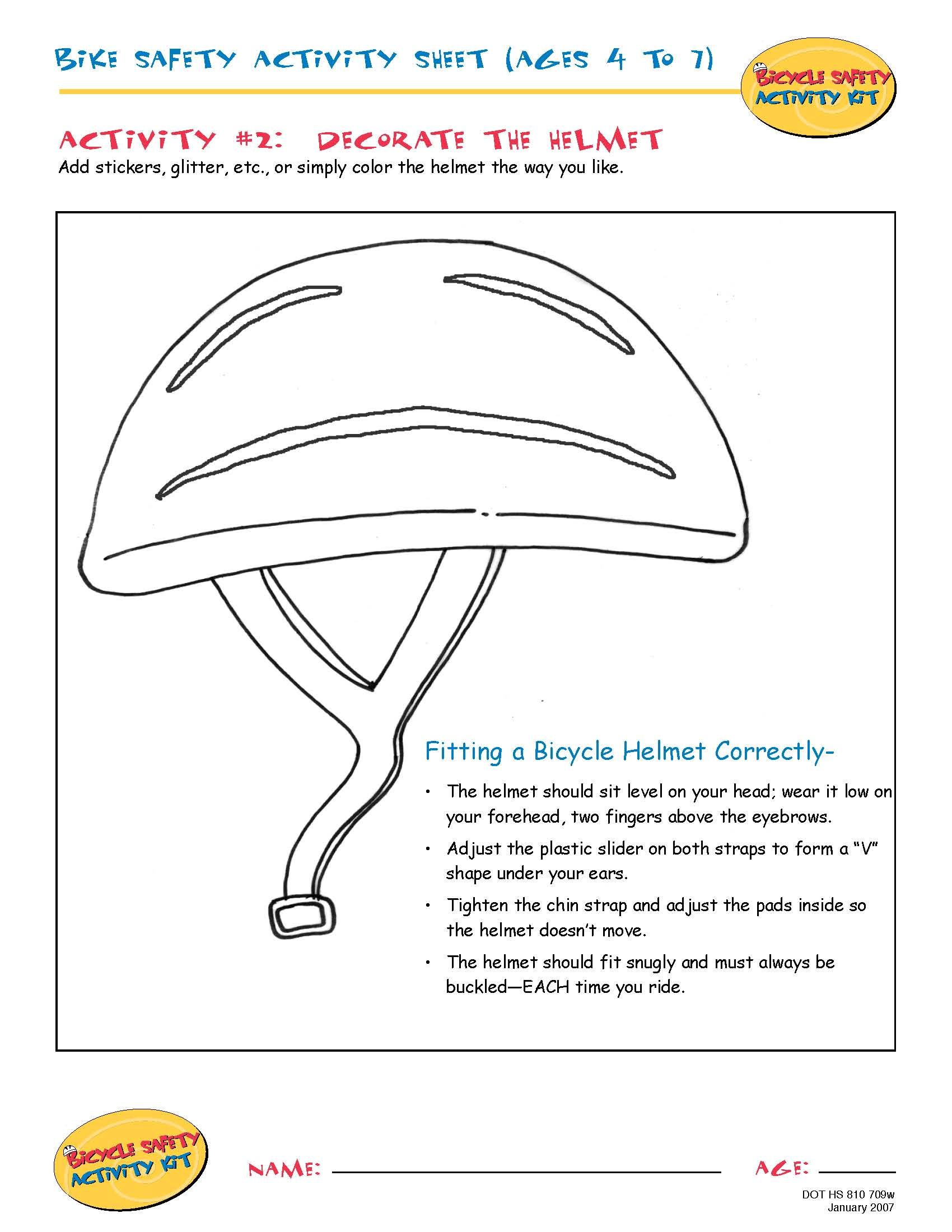 Bike Safety Activity Sheet (Ages 4 to 7): Decorate the Helmet ...