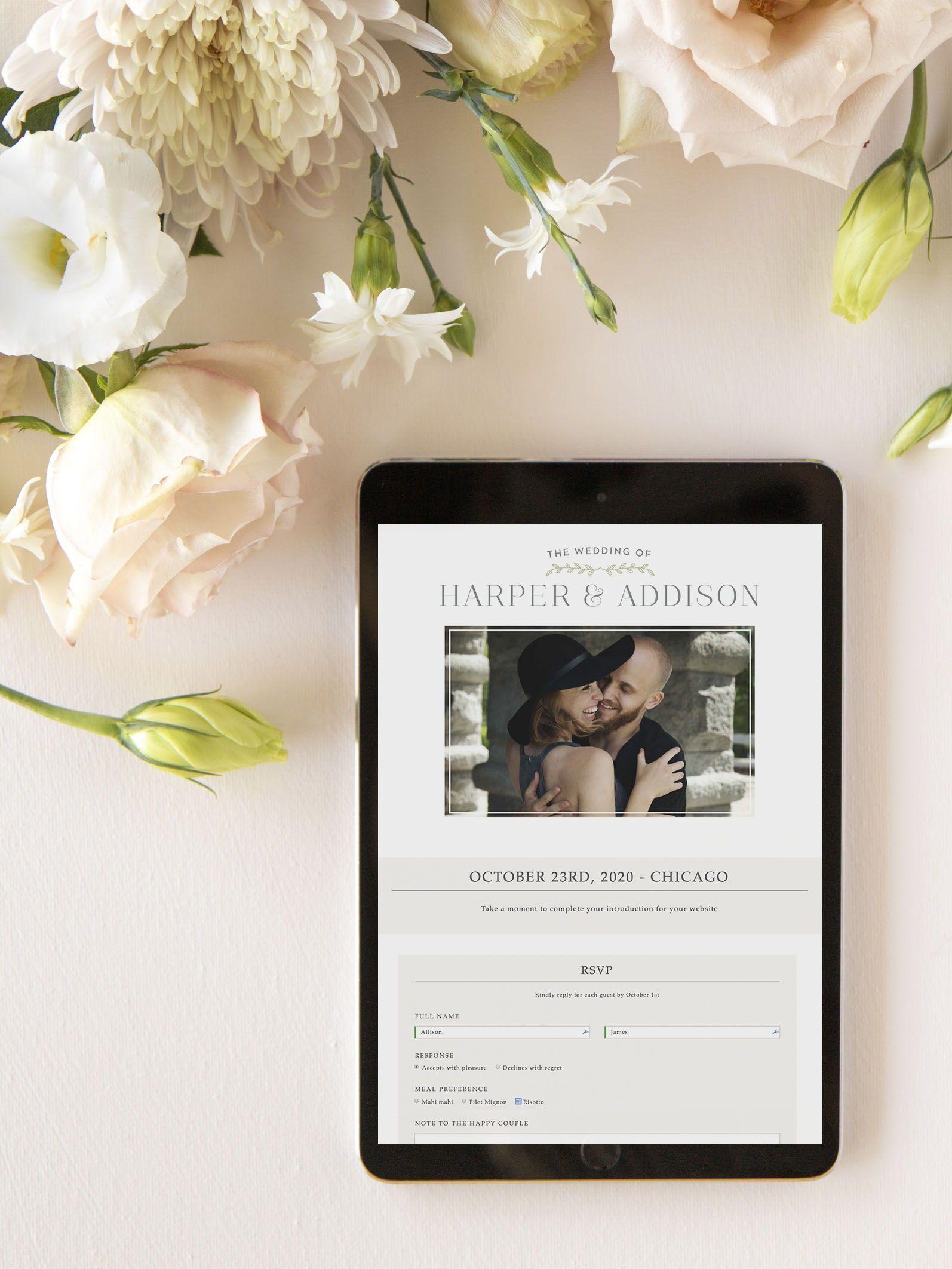 Leafy Accents Wedding Website Free Wedding Websites