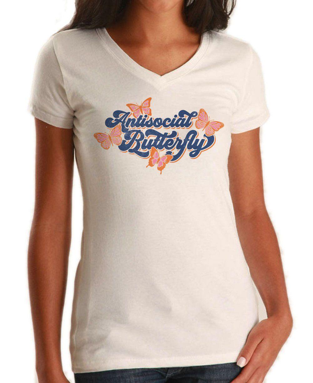 f377090e519282 Women s Antisocial Butterfly Vneck T-Shirt