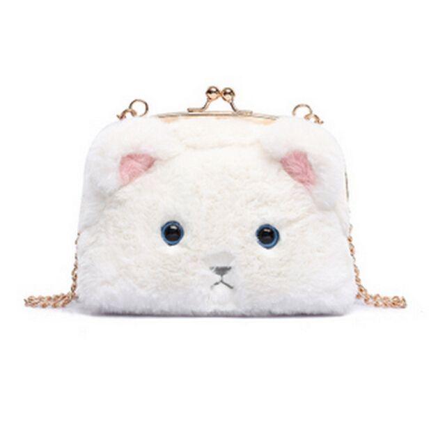 Adorable Bunny Faux Rabbit Fur Crossbody Handbag Chain Shoulder Bag Storage YS