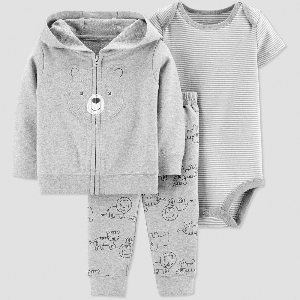 68e8f6993 Baby Boys  3pc Bear Short Sleeve Cotton Cardigan Set - Just One You ...