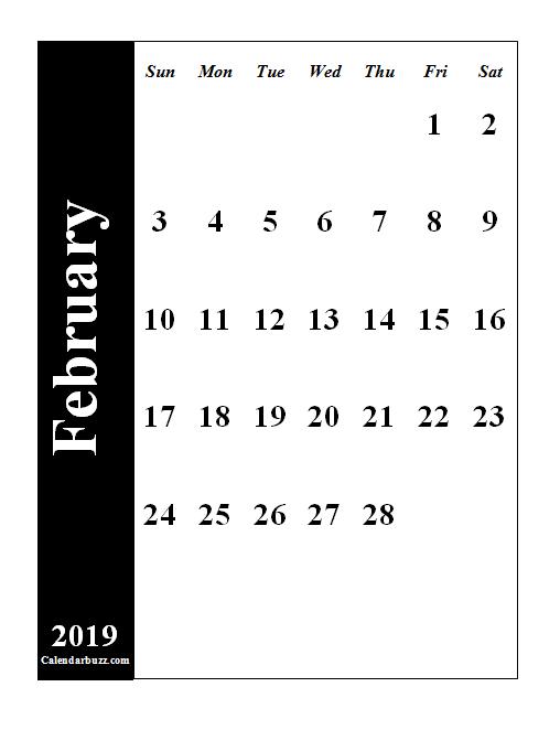 Calendar February 9 2019 February 2019 Portrait PDF Calendar #february #february2019