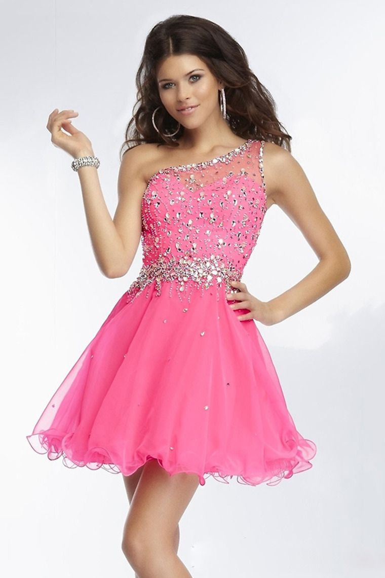 Online Dress One Shoulder Beaded Bodice Short Mini A Line Stunning ...