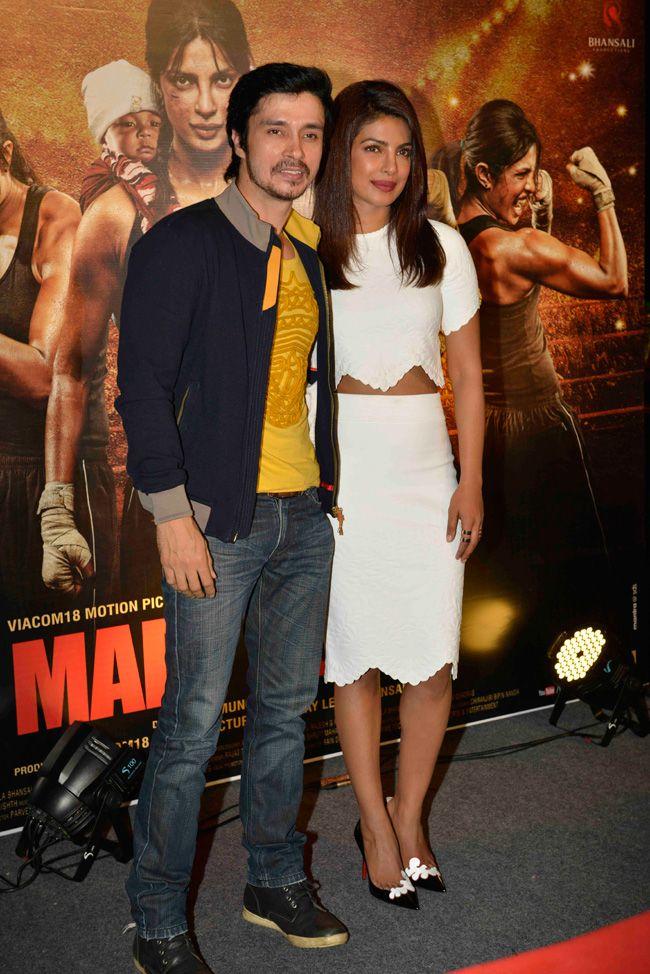 Priyanka Chopra with co-star at the 'Mary Kom' trailer #Style #Bollywood #Fashion #Beauty