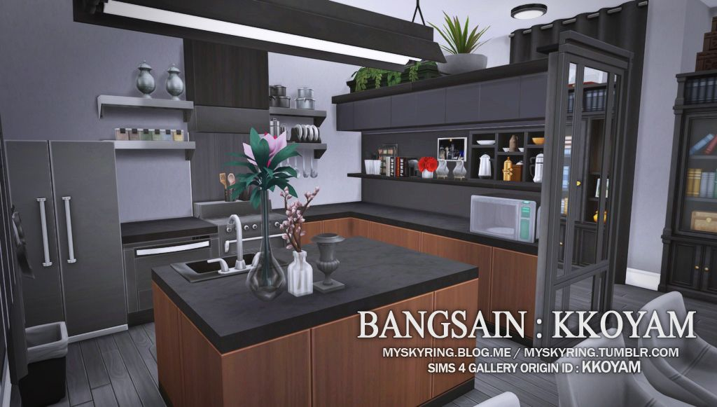 Bangsain Kkoyam R002 10x12 No Cc Ep Get To Work Get Together City Life Gp Dine Out Sp Cool Kitchen Sims House Sims 4 Kitchen Sims House Design