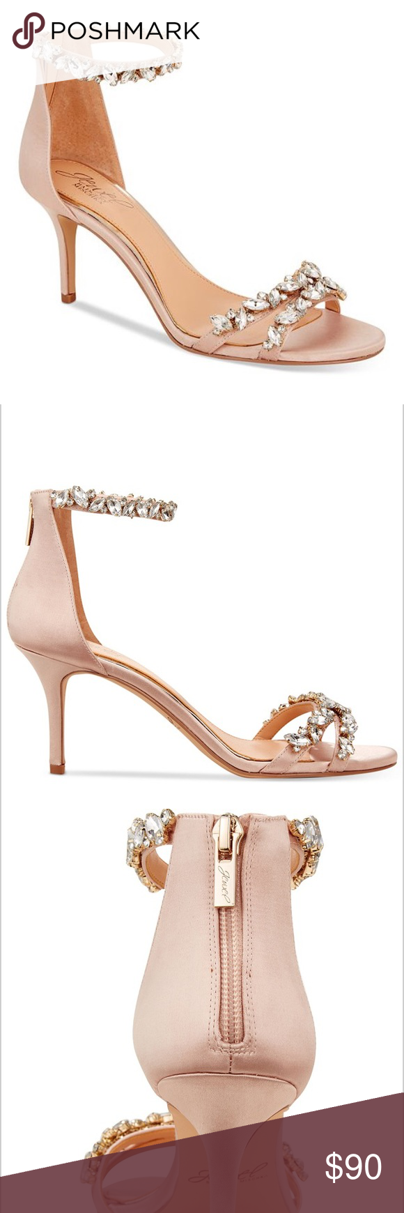 e677c45ddc410 Jewel Badgley Mischka Caroline Ankle-Strap Sandals Jewel Badgley Mischka  Caroline Embellished Ankle-Strap Evening Sandals-worn once for a photo  shoot.