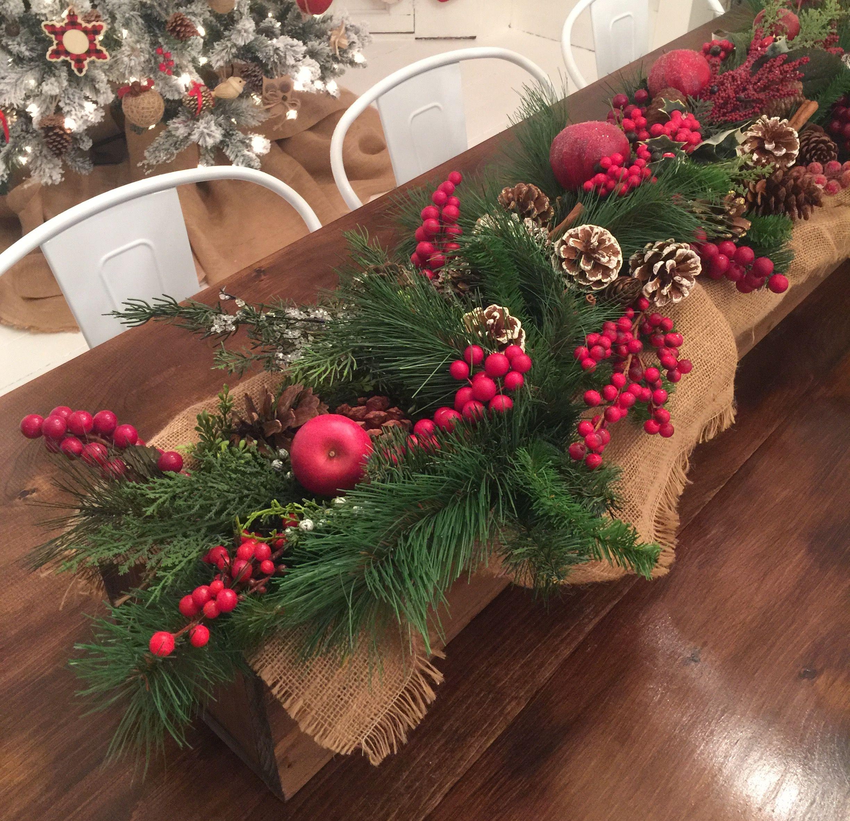 Wooden Box Christmas Centerpiece With Berries Burlap Greenery Pine Cones Apples Cinna Christmas Berries Christmas Centerpieces Christmas Table Decorations