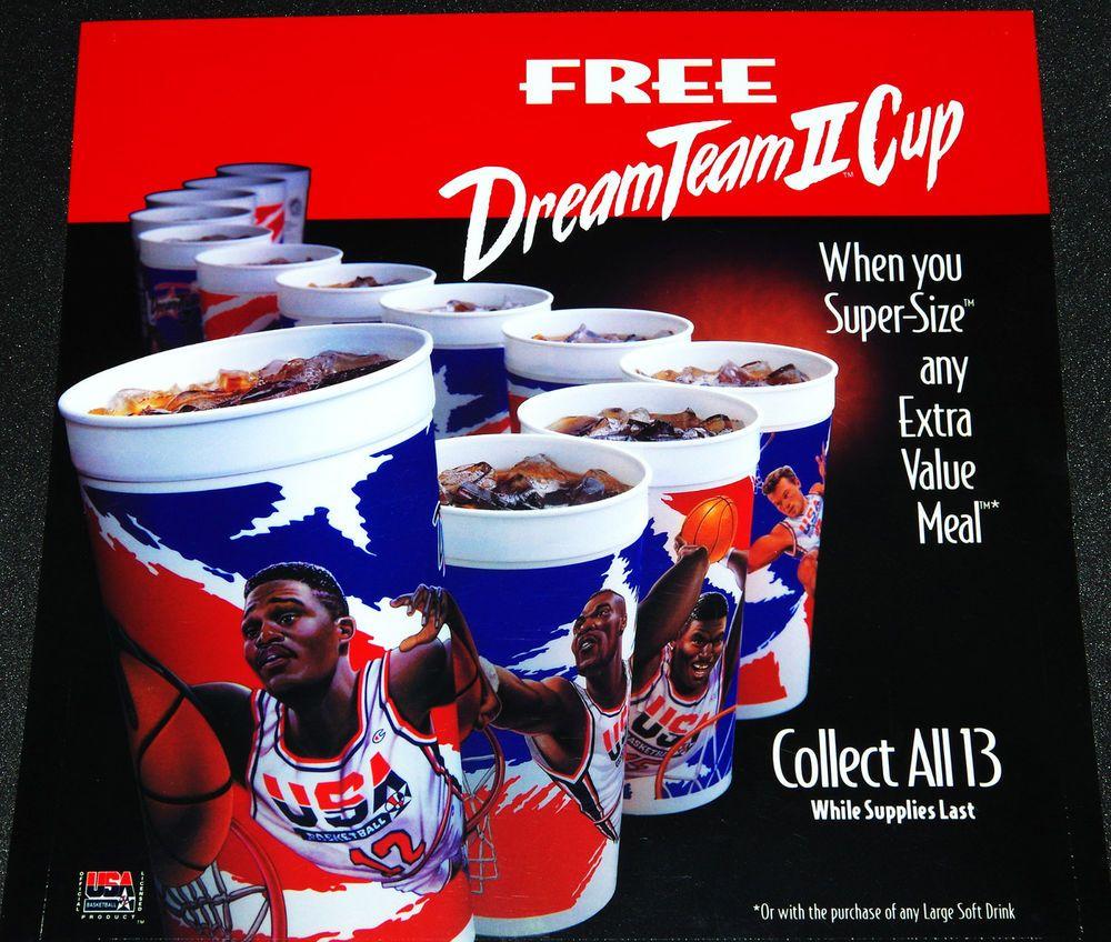 McDonalds NBA USA Olympic Dream Team Basketball Cup Store Display Translite  Sign  McDonalds f8494da9e4b7