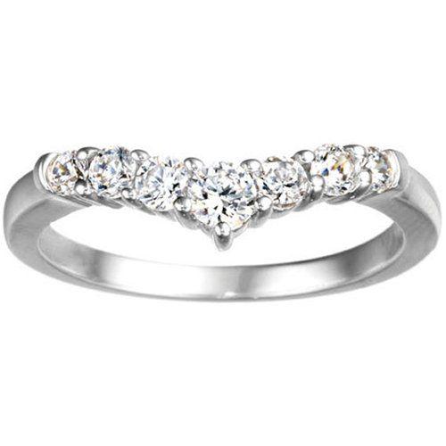 10k White Gold Chevron Classic Contour Wedding Ring Set With Cubic Zirconia 0 35 Carat Twt 215 Wedding Ring Sets Chevron Ring Silver Wedding Rings