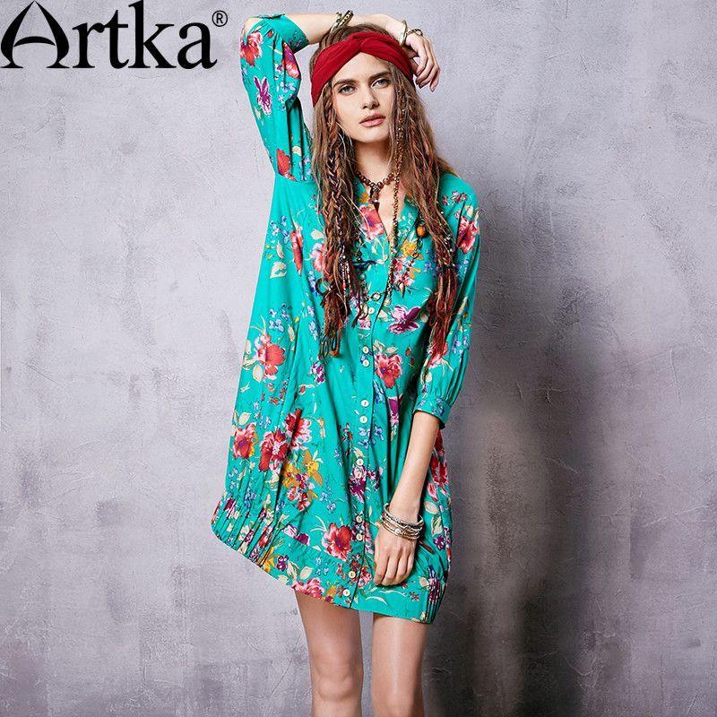 Artka Floral Printed Cotton Dress