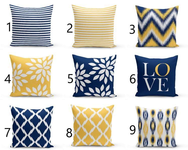 Outdoor Pillows Navy Yellow White Outdoor Home Decor Outdoor Throw Pillows Blue Throw Pillows Navy Blue Pillows Navy Blue Decorative Pillows