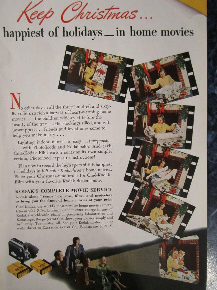 VINTAGE 1946 CHRISTMAS ORIGINAL COLOR PRINT AD KODAK HOME MOVIE CAMERA