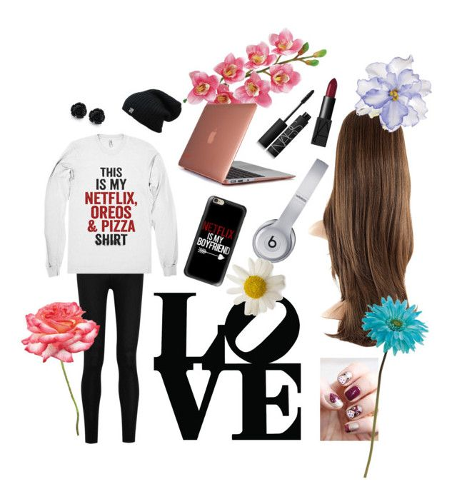 """""""Chillin'"""" by r5family3232 ❤ liked on Polyvore featuring Donna Karan, Casetify, Laura Cole, Speck, Beats by Dr. Dre, NARS Cosmetics, Universal Lighting and Decor and Allstate Floral"""