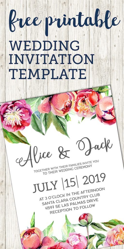 Free Wedding Invitation Template {Floral Peonies | Pinterest | Free ...