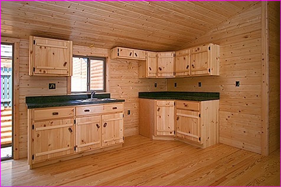 unfinished knotty pine kitchen cabinets | Rustic cabin ...