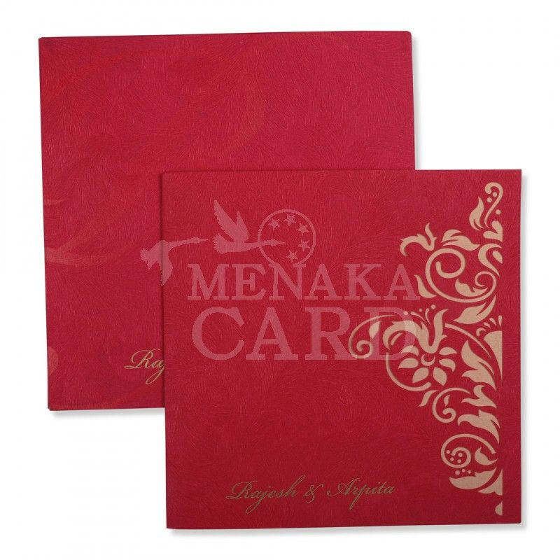Maroon Card with Floral design in Dark… | Multi Faith Wedding Cards ...