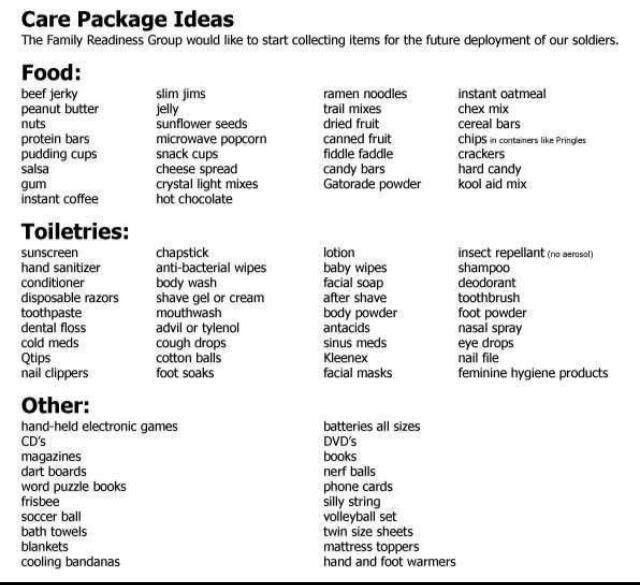 Care Package Items Absolutely A Great List Since Its My First