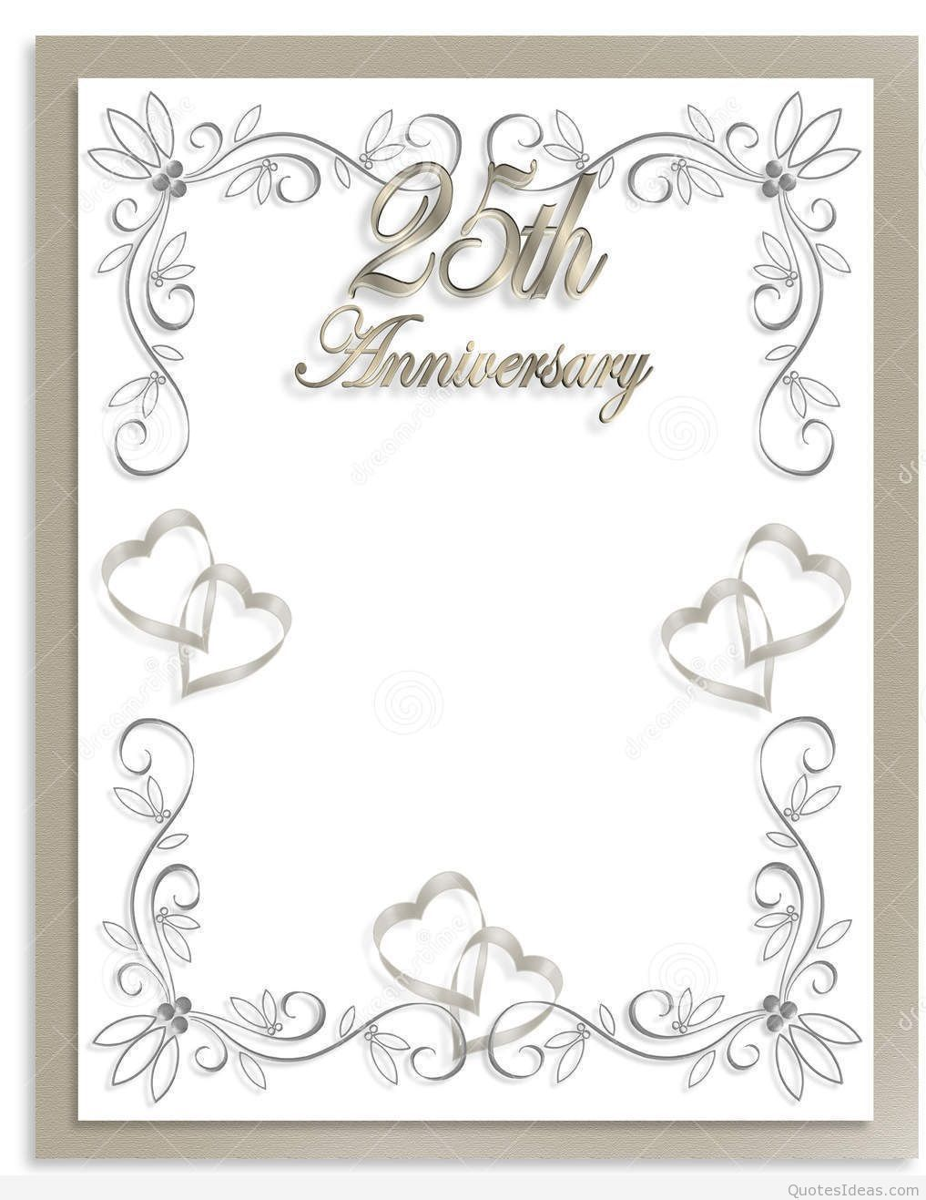 Free Silver Wedding Anniversary Invitations Templates
