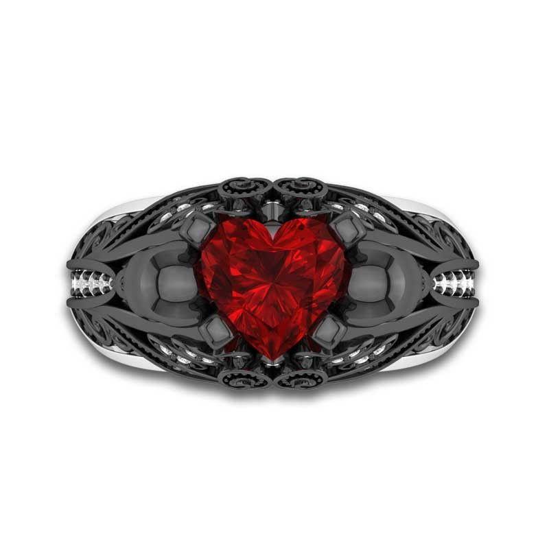 Black skull engagement ring for women heart ruby stone and