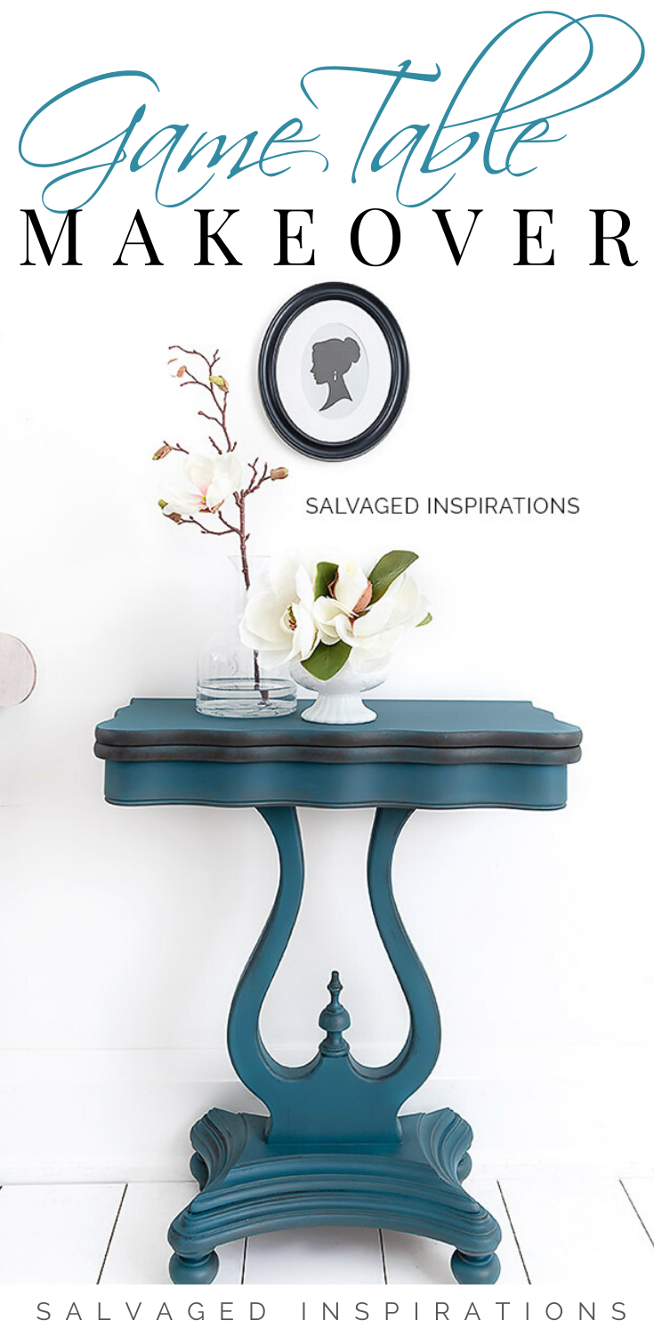 Game Table Makeover | Stenicled Game Table | Salvaged Inspirations   #siblog #salvagedinspirations #paintedfurniture #furniturepainting #DIYfurniture #furniturepaintingtutorials #howto #furnitureartist #furnitureflip #salvagedfurniture #furnituremakeover #beforeandafterfurnuture #paintedfurnituredieas #dixiebellepaint #redesignwithprima